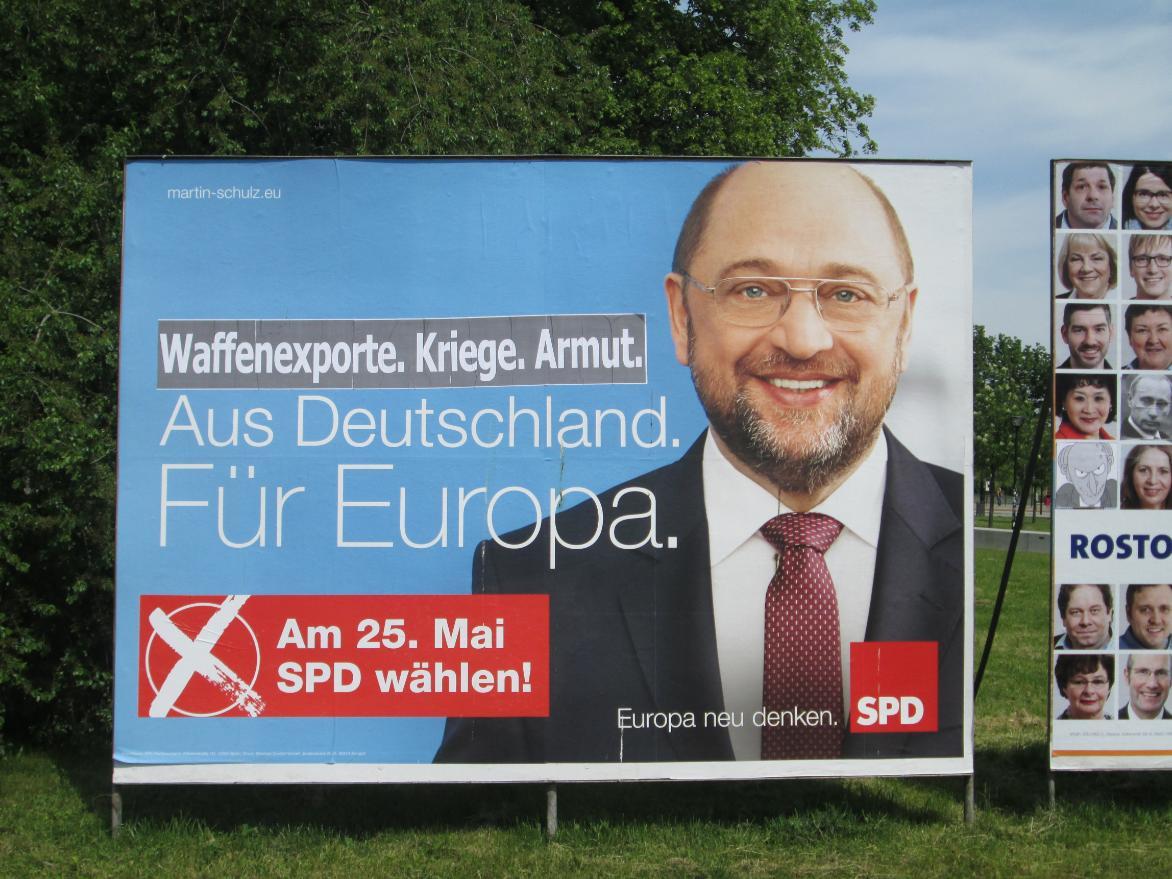 Waffenexporte. Krieg. Armut. Aus Deutschland. Für Europa. SPD wählen!